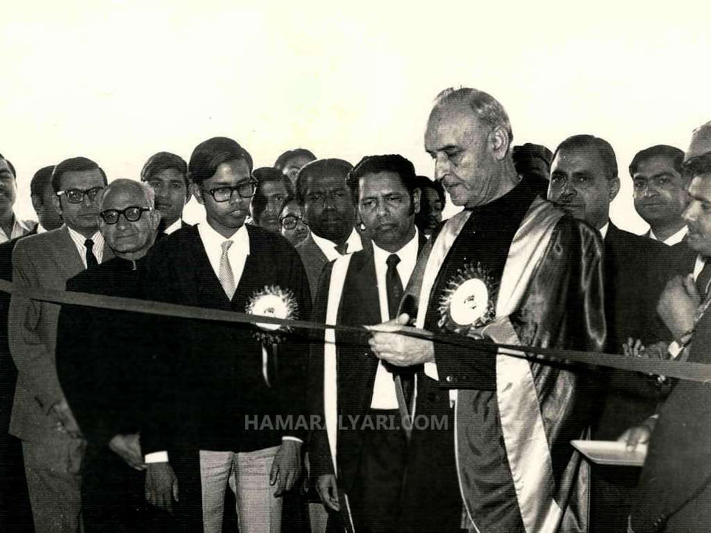 Inauguration of a WUS Utility Store (L-R); WUS UOK Secretary (Ansari), Professor S.M.A Tirmizi, and Vice Chancellor Dr. Mahmood Hussain (brother of India's President Zakir Hussain)
